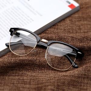 复古眼镜框韩版平光镜女明星款半框近视眼镜架男圆脸防辐射个性潮