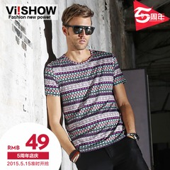 Viishow2014 new summer dress, short sleeve t shirt men's retro national casual slim fit short t jacket