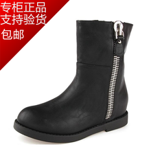 Daphne authentic European and American wind flat 2014 new boots with side zip 1014607105 leisure short boots