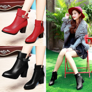 Shield Fox fall 2015 coarse heels designer shoes pointy ankle boots Western wind Martin boots and cashmere women's boots