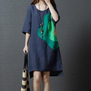 夏装韩版时尚胖mm宽松大码女装时尚棉麻中长款贴布短袖休闲连衣裙