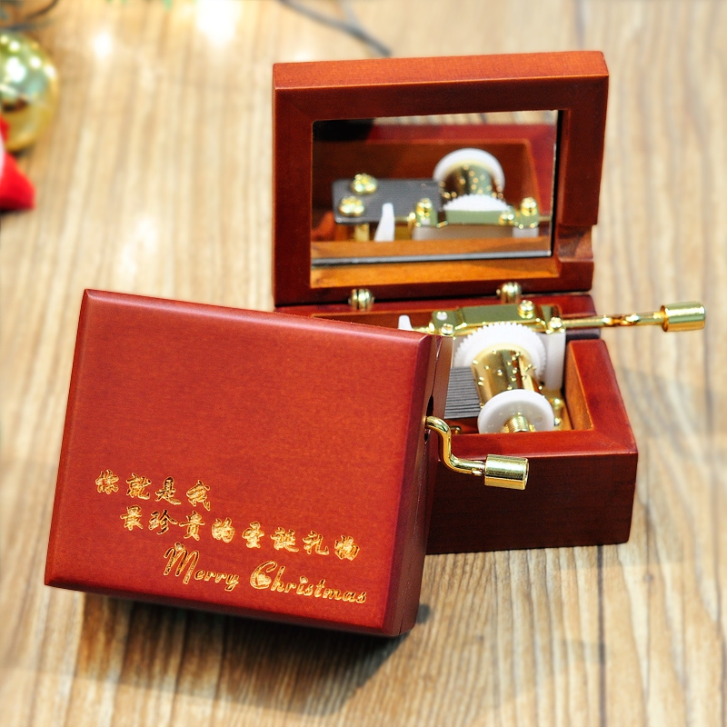 Custom engraved wooden music box with high beauty