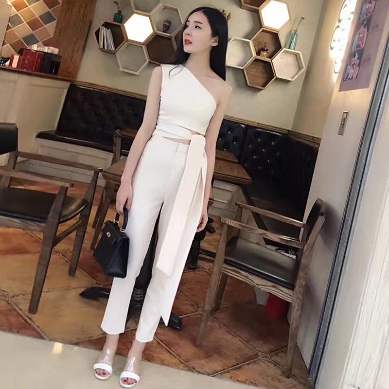 2019夏装新款名媛气质泰国女神范裤子时尚洋气御姐网红两件套装女