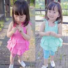 June 1 children's wear summer new of the girls Female baby sweet condole belt skirt unlined upper garment + 7 minutes of pants suit 0-1-2-3-4