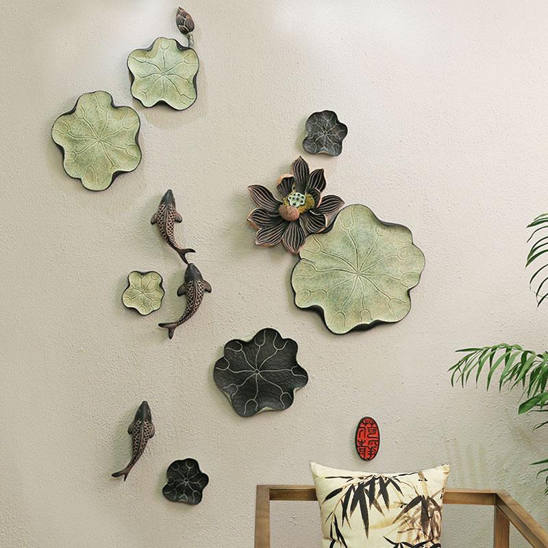 餐廳壁飾牆飾 客廳背景牆上裝飾品魚掛件中式玄關過道牆麵壁掛