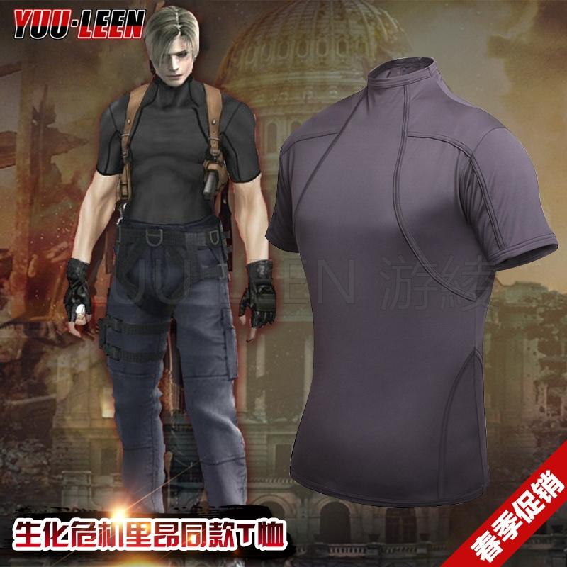 人气生化危机4里昂T恤 游戏cosplay服装里昂衣服紧身户外战术T恤