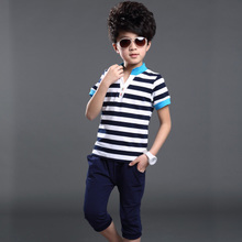 The new summer 2015 han edition boy short sleeve suit children wear cuhk two-piece uniform female child movement