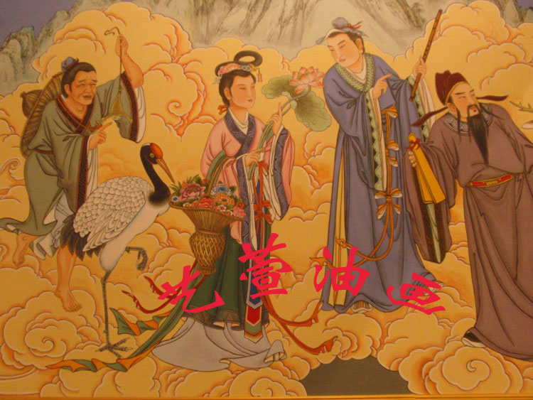 Chinese painting wall painting figure professional wall painting mural view building ancient temple wall painting door to door custom drawing