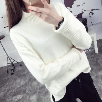 短款高领白色秋冬季韩版宽松毛衣