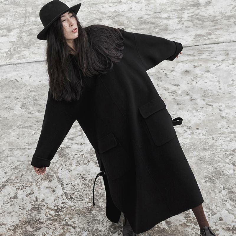 手工双面纯羊毛大衣20春秋男女同款加大长款套头宽松绒毛呢连衣裙