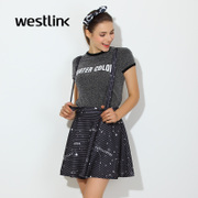 Westlink/West spring 2016 new printed removable strap two wearing skirt puff skirt