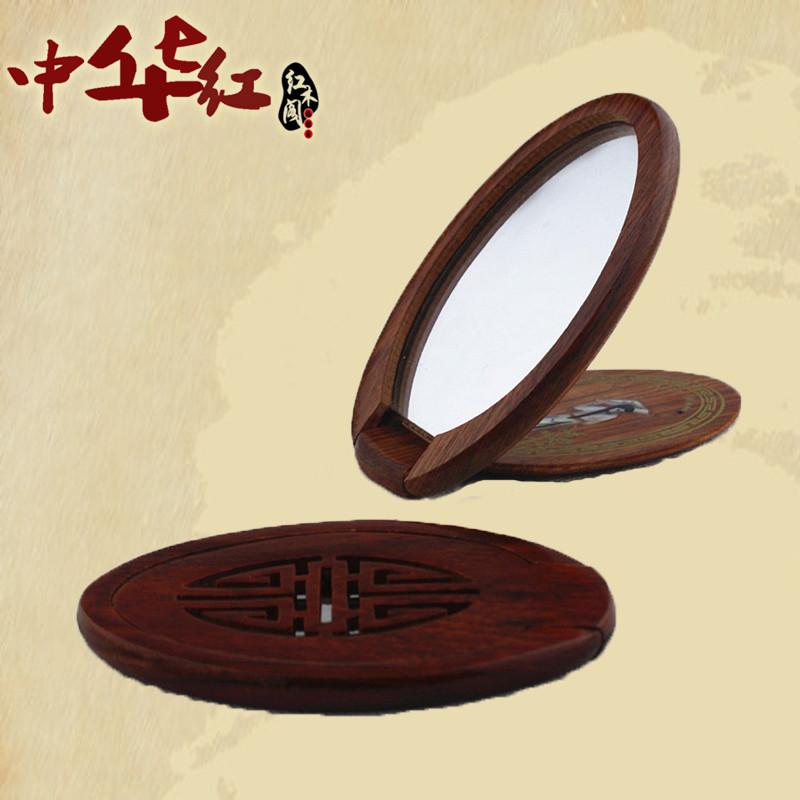 Бирманский палисандр зеркало Большая резная рамка из сандалового дерева со складыванием зеркало Детское одевание зеркало косметика зеркало сын