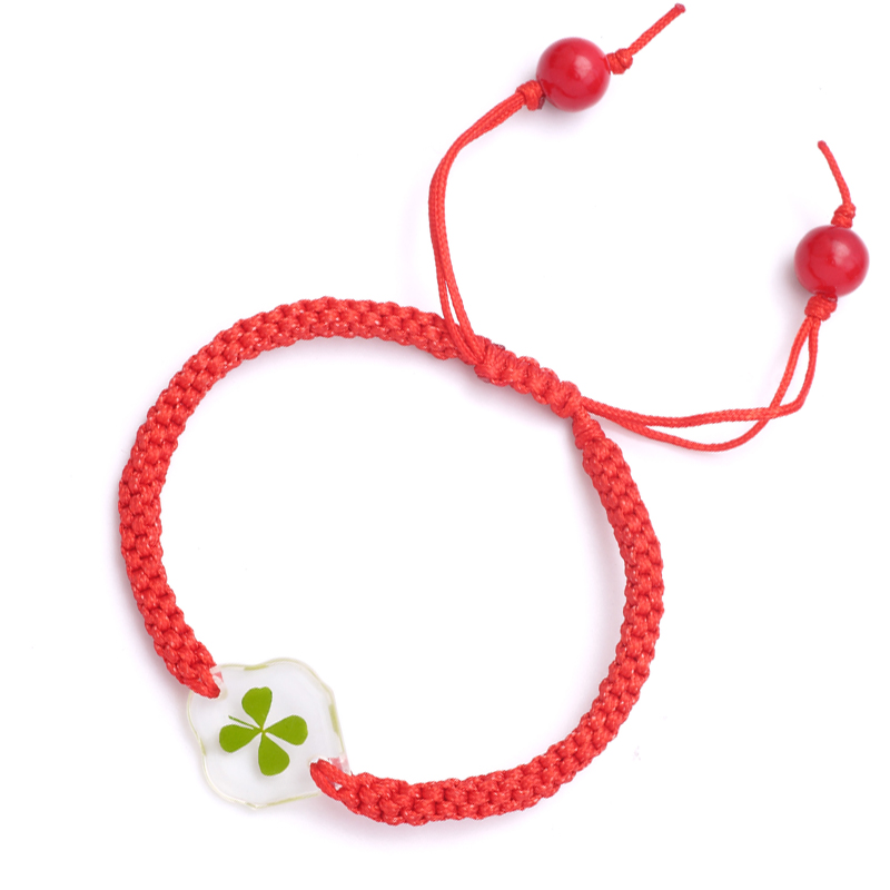 Lucky clover real leaf specimen hand woven red rope bracelet for men and women personality gift promotion lucky exam help
