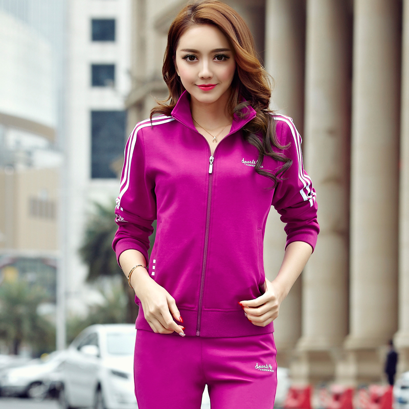 Spring and autumn new clothes South Korean silk sports suit middle aged womens long sleeve leisure running sportswear jacket pants suit