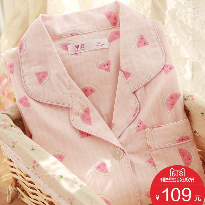 Мечтать мед арбуз тонкая модель хлопок марля помещение одежды лето беременная женщина пижама послеродовой подача молоко одежда свойство женщина грудное вскармливание пижама