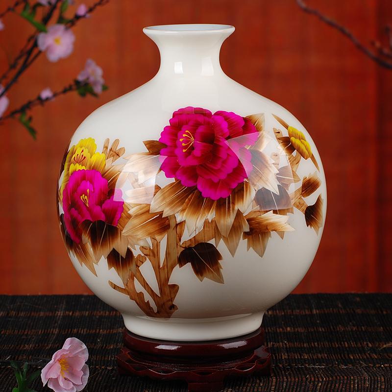 138景德鎮陶瓷落地花瓶  中國紅牡丹麥稈花瓶家飾客廳擺件
