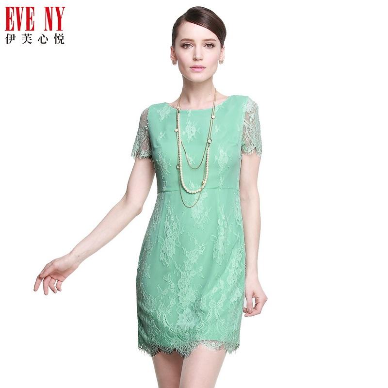伊芙心悦夏季天猫女装EVENY优雅花型蕾丝短袖连衣裙吊牌价2280