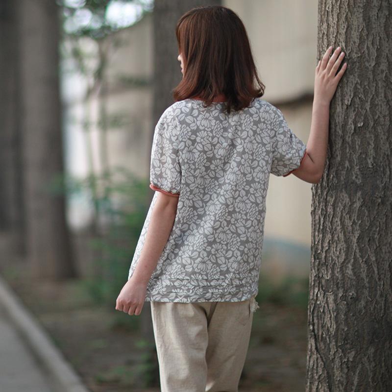 2016斯琴风格女装夏季新款衬衣女士碎花短袖衬衫圆领套头棉麻上衣