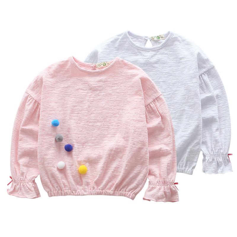 淘�恺�童�b2017春季新品毛球上衣�L袖T恤中大童����套�^衫打底衫