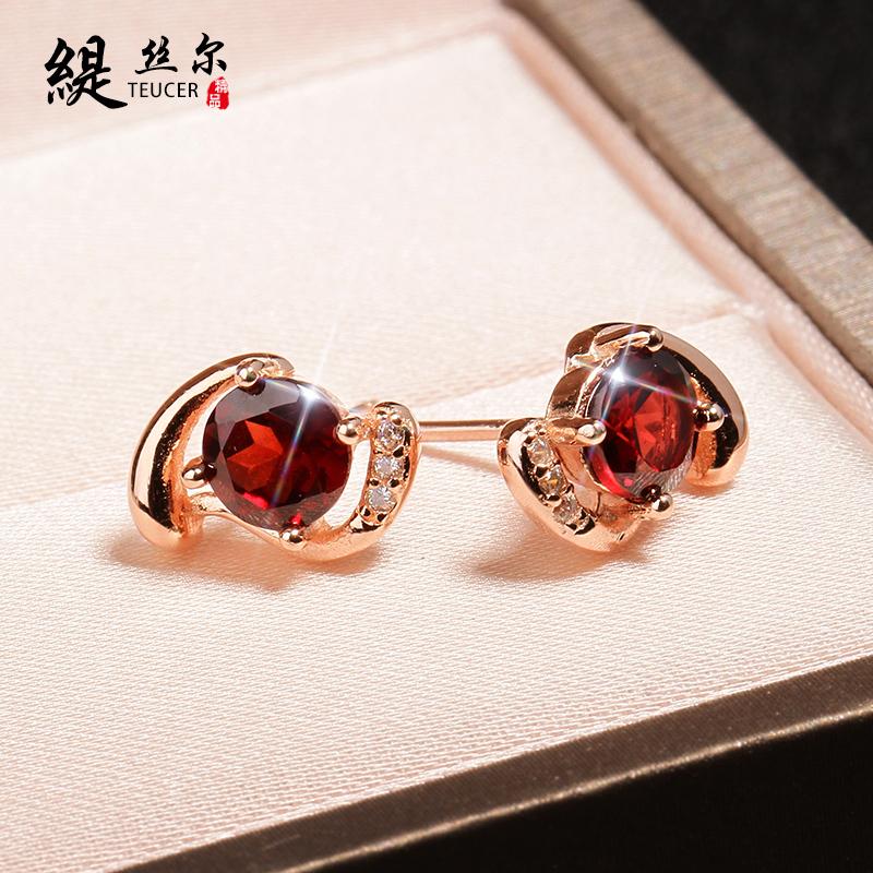 石榴石耳釘女氣質日韓國簡約耳飾925銀防過敏天然水晶寶石耳環