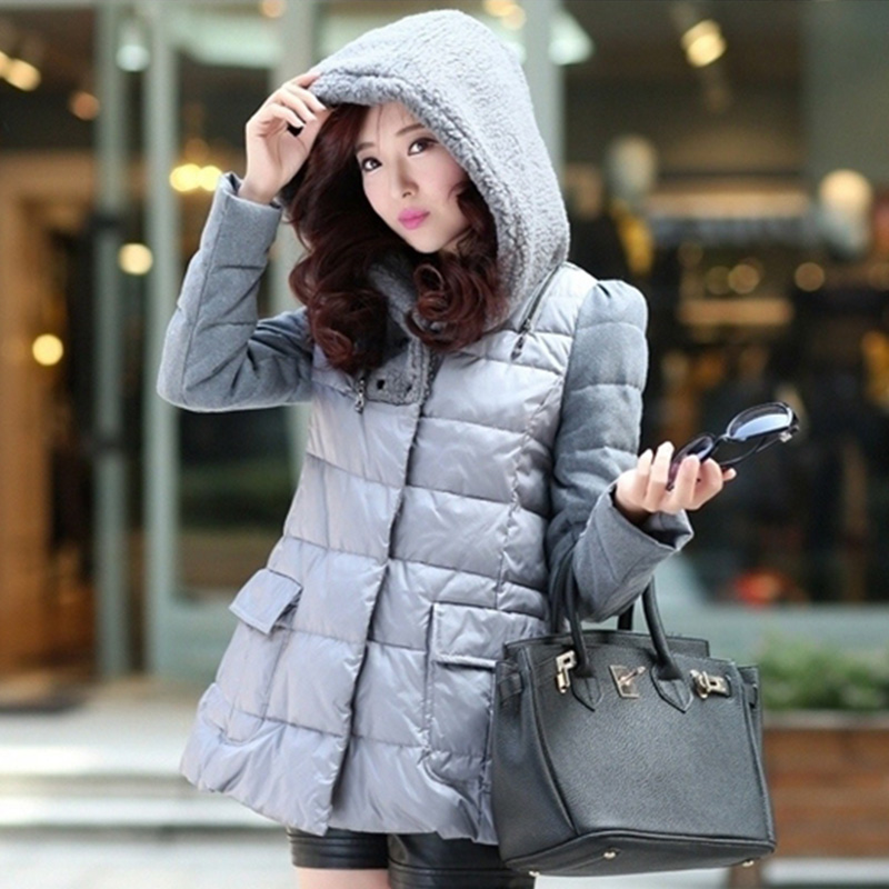 Cool gamma-season clearance fashion cloak type cotton padded jacket and long sections solid