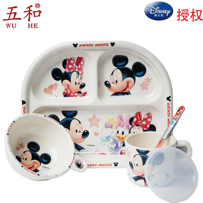 Пакет mail детей в возрасте до пяти лет и детей столовые приборы набор блюд ложки установить мультфильм ребенка пластины Микки
