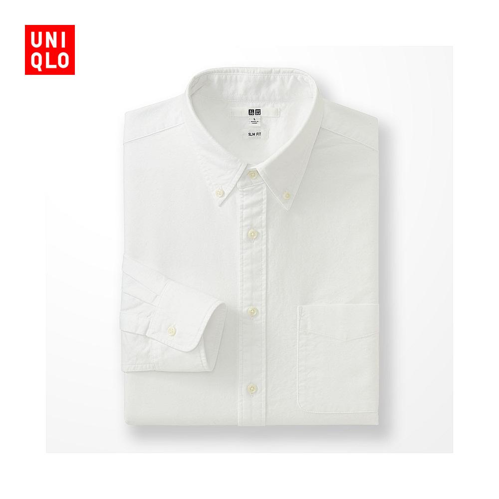 男裝 牛津紡修身襯衫^(長袖^) 172926 優衣庫UNIQLO