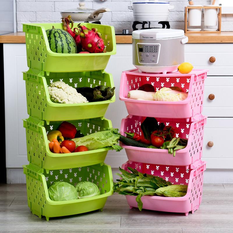 Фрукты и овощи хранение корзина кухня стеллажи этаж многослойный перфорация пластик кухня статьи хранение полка овощной полка