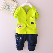 2015 children in the new leisure fashion cotton suit covered 2 times 0-1-2-3-4 baby cardigan and trousers