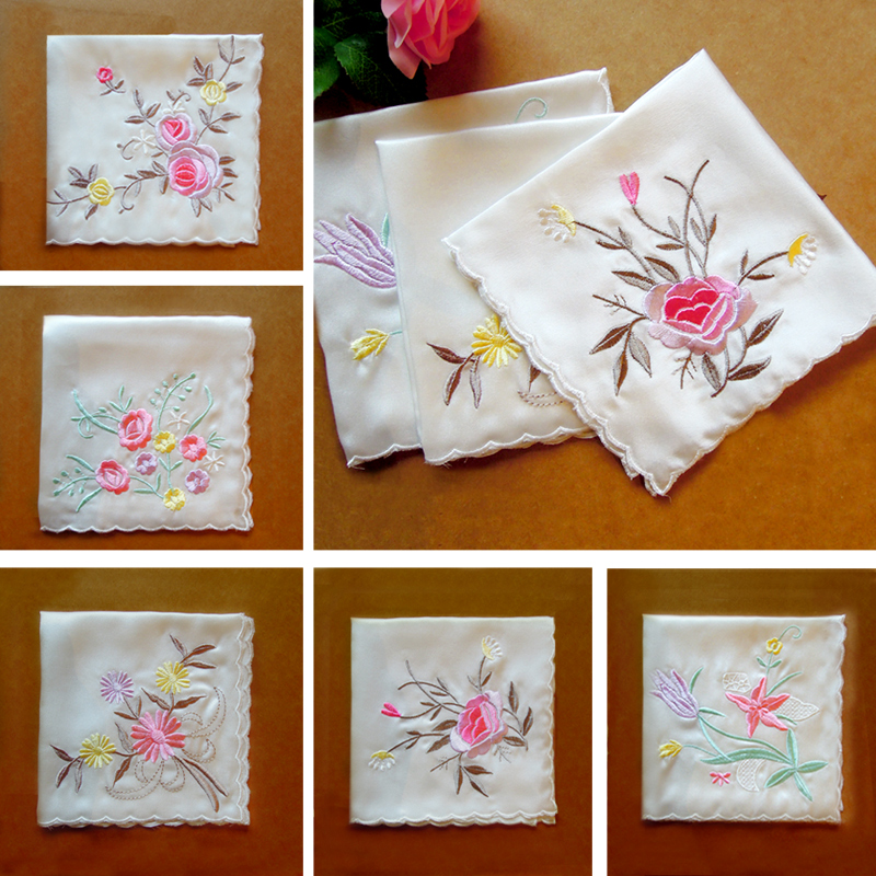 Special price silk embroidered handkerchief handkerchief flowers white Suzhou embroidered mulberry silk womens stock a variety of designs and colors