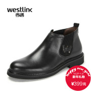Westlink/2015 winter New England casual West Chelsea stitching leather short boots men's boots