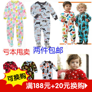 Card Infants and children climbing clothing foot Romper baby coveralls Spring Legs sleeping bag large size fleece pajamas