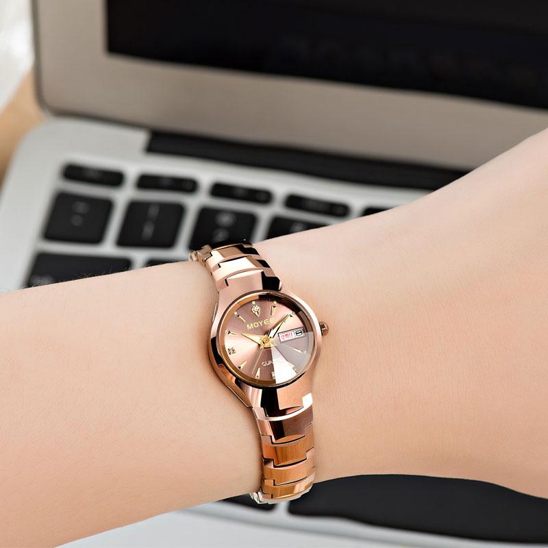 正品鎢鋼女表圓形手表女士時裝全自動石英玫瑰金女款日曆女生夜光