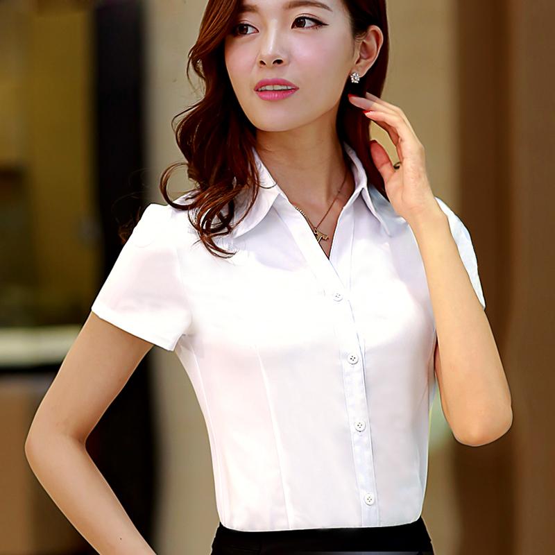 衣陽指新白襯衫女夏短袖職業裝工作服正裝工裝大碼半袖襯衣女裝ol