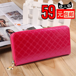 Poetry Wei child Korea fashion candy colored patent leather cowhide Ms Large Zip wallet money cross section sweet