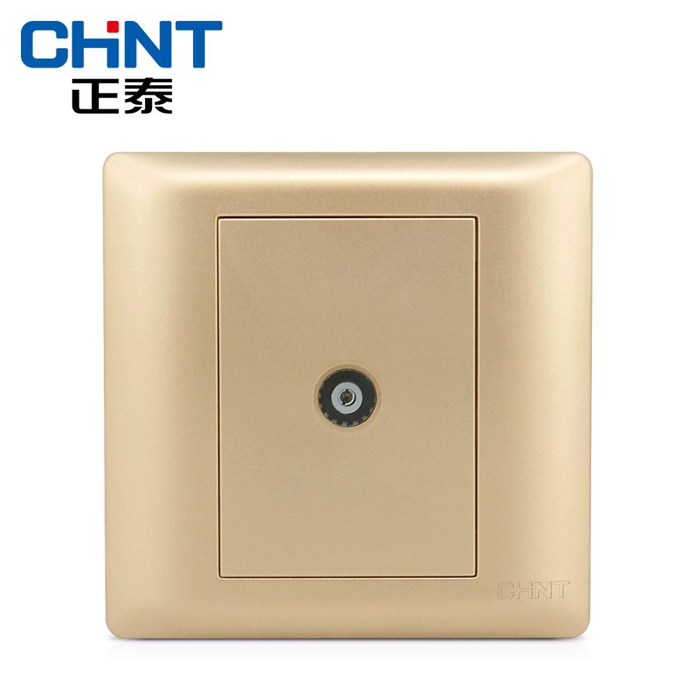 正泰 钢架墙壁开关插座面板NEWE7A香槟金色 有线电视插座面板