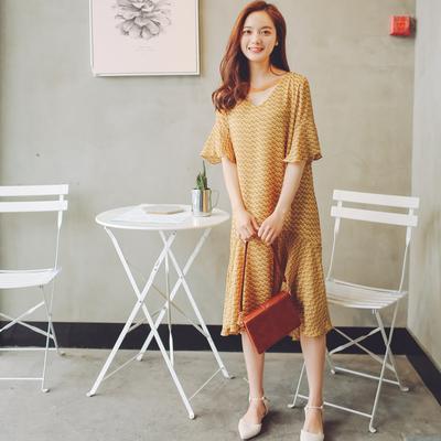 2017夏装斜条纹小清新韩版连衣裙