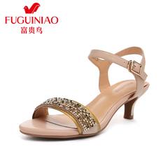 Rich bird 2015 summer women's leather sandal with Rhinestone sandal stiletto woman Xia Zhong buckle sandals