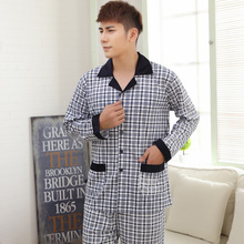 Nobility is the spring and autumn period and the men's pyjamas cotton long sleeve cotton trousers fall plus-size leisurewear suit men's grid