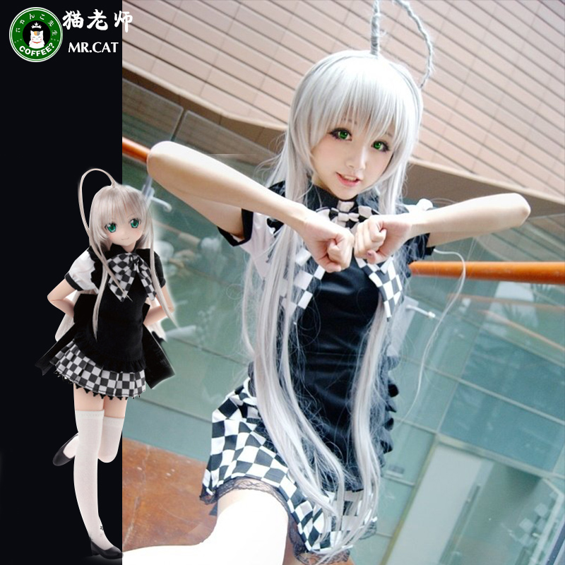 猫老师潜行吧奈亚子COS服动漫cosplay服装女装黑白格子女仆女佣装
