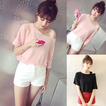 夏季新款日系女装露肩性感纯色宽松T恤短袖上衣爆款19.9包邮