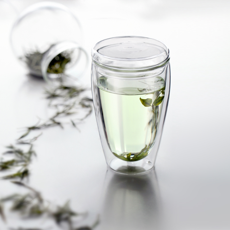 Vatiri樂怡光合作用雙層玻璃杯車載玻璃水杯有蓋家用口杯喝水杯子