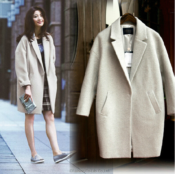к 2015 году новые стили для осень/зима костюм как Корейская версия кокон пальто шерстяной ткани большой zip вокруг бумажник толстые шерстяные пальто костюм женщин