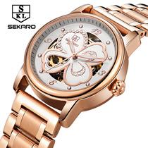 8026S手表防水女全自动圆形精钢透底国产腕表2016斯卡络sekaro