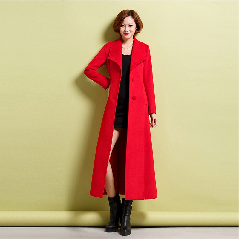 2020 new womens woolen coat over the knee slim thick cashmere coat autumn winter Lapel temperament original windbreaker