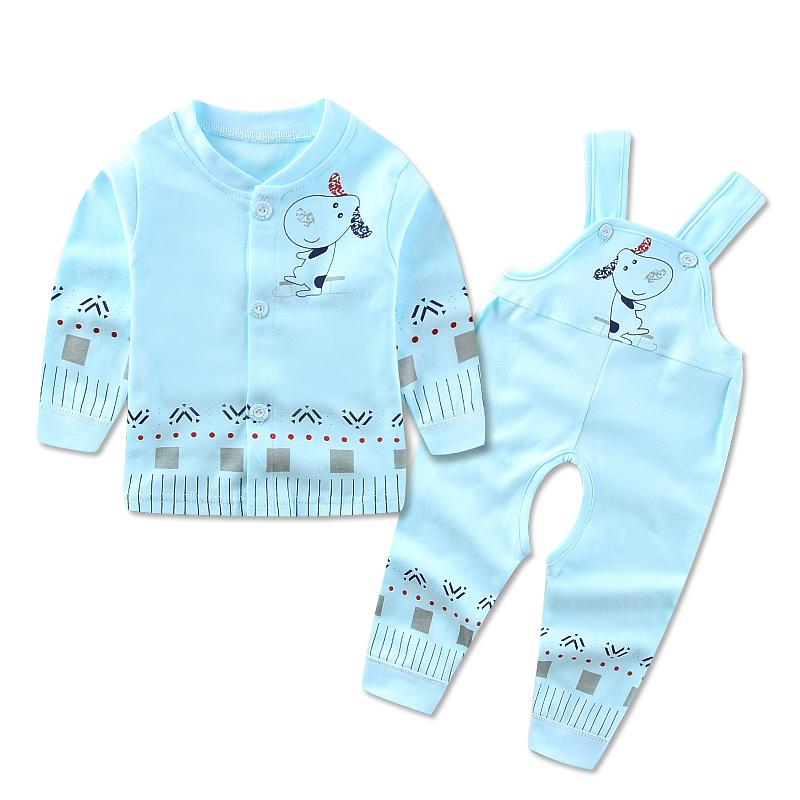 叮當樂園寶寶背帶內衣套裝嬰幼兒春 薄款衣服背帶褲新生兒內衣