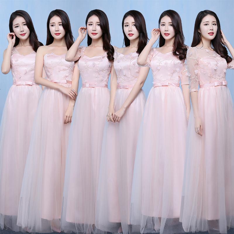 伴娘服長款2017 姐妹團伴娘禮服短款姐妹裙畢業晚禮服伴娘裙