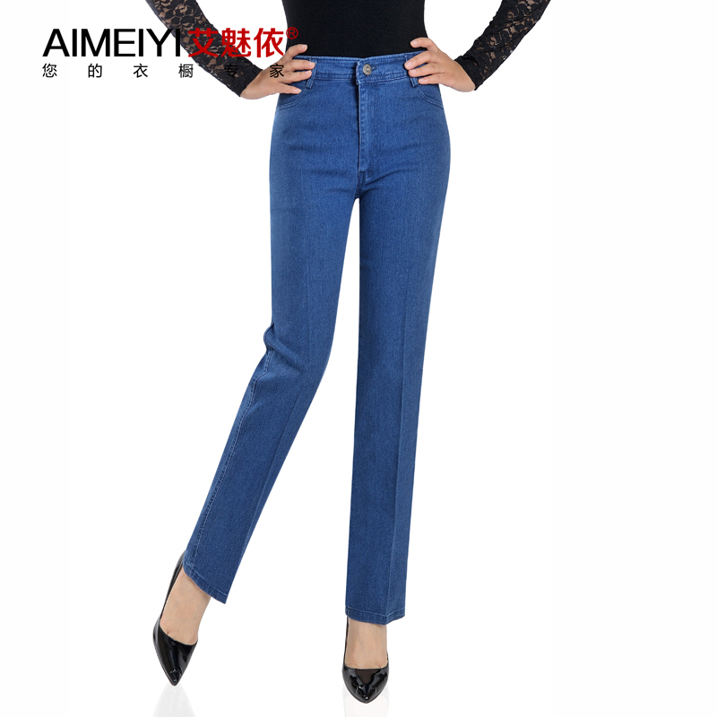 Autumn and winter jeans womens trousers straight tube high waist loose elastic middle-aged and old mothers have plush pants for outer wear