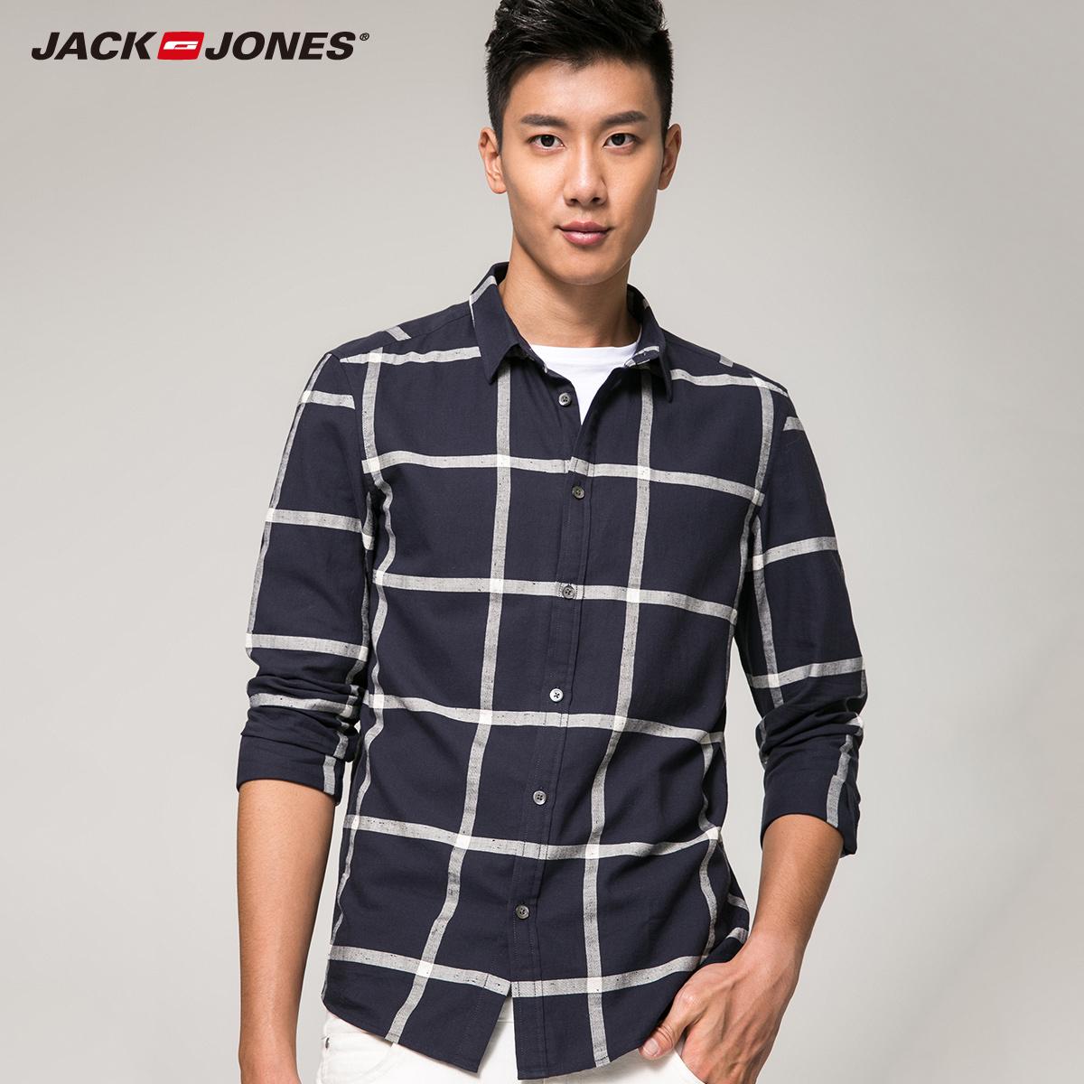 JackJones傑克瓊斯格紋純棉修身男裝 長袖襯衫衣E^|216405519