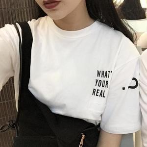 3539 小高领字母印花假口袋棉T恤上衣 cp姐妹装
